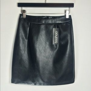 Boohoo A-Line leather mini skirt